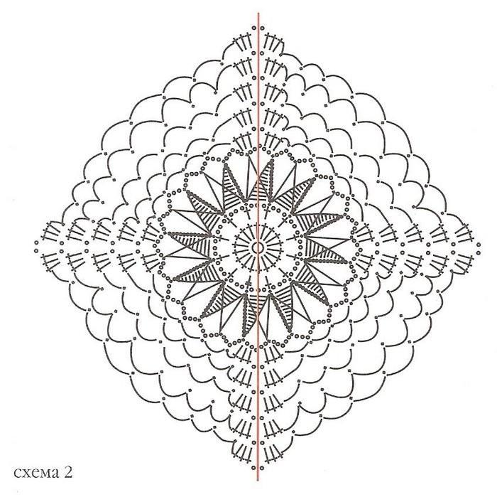 Для оформления верхнего края шали свяжите треугольники.  Для вязания треугольников разделите схему квадрата пополам.