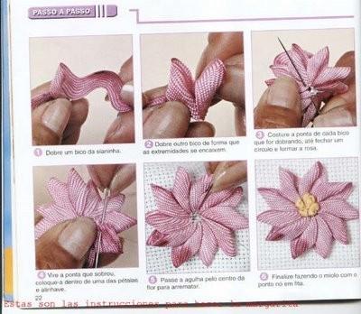 Как сделать цветочки из лент фото