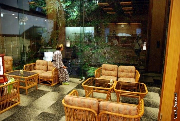 И восхищенно смотрит как зал отдыха отражается в стеклах и совмещается с садом
