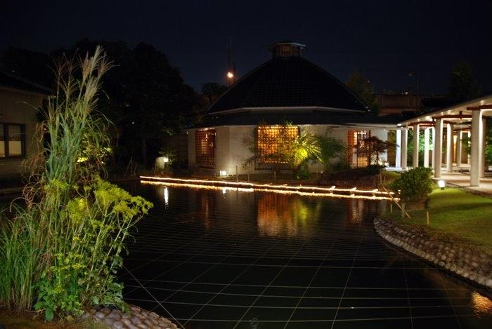 Традиционно - в центре отеля красивый японский сад, с озером, с рыбой. Окна горят в домике-онсэне.