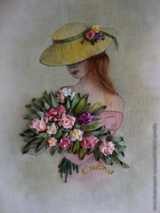 Вышивка лентами девушки в шляпах
