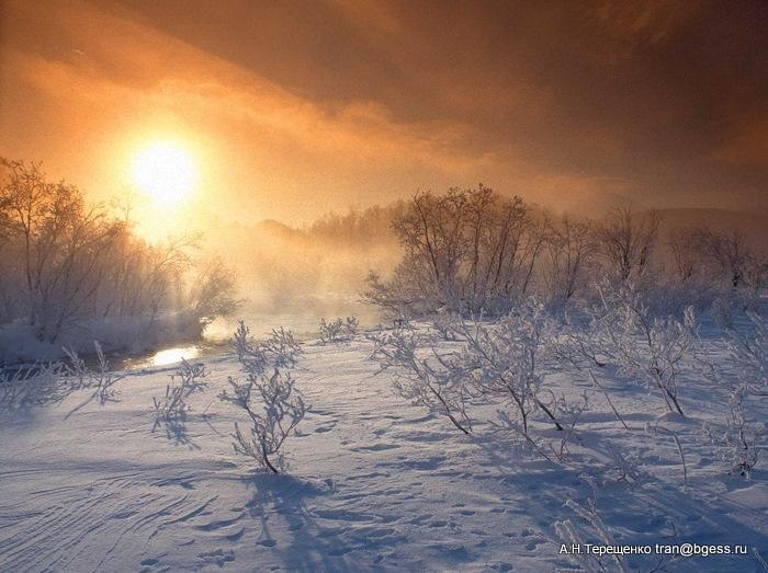 Зимнее утро на реке Горячая