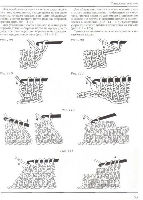 Узоры тунисского вязания.