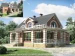 Проект дома E-172-1K. кирпич.  Материал.  Отложить.  Сравнить.  Проект дома с террасой,очень простой в строительстве.