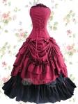 Классический красный и черный. акцент на плиссированную и многослойную юбку. Сделана из хлопка. Нижняя юбка прилагается.