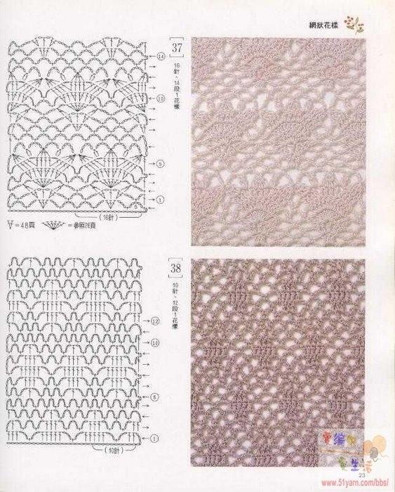 Схемы вязания крючком на спицах.