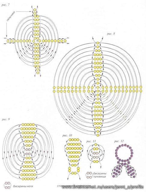 """Часть 4.  """"Часть 1. Часть 2 - Схема плетения зайца из бисера Часть 3. Колокольчики..."""