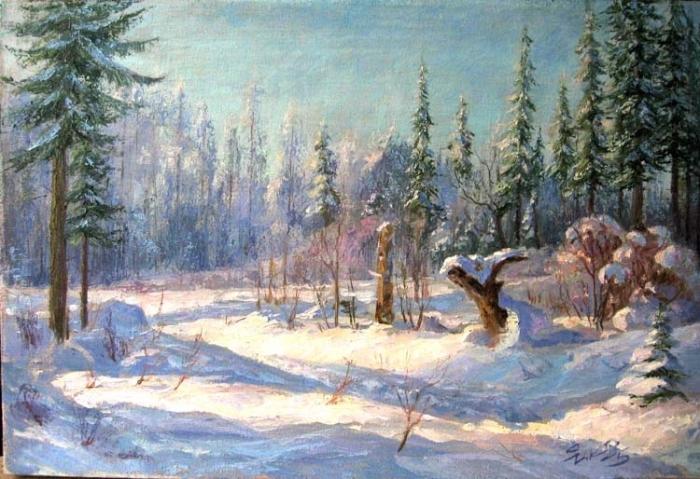 Зимний пейзаж рисунки гуашью