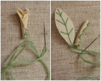 Сворачиваем по длинной стороне в трубочку  и сшиваем придавая форму веточки: