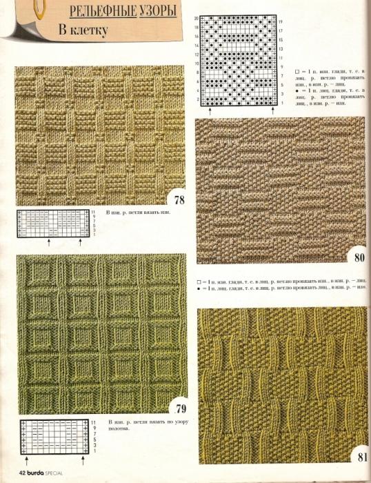 Простые образцы вязания спицах