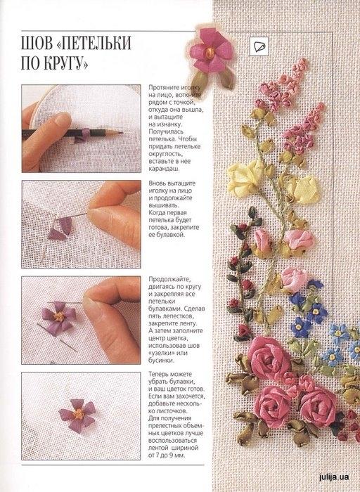Рисунки для вышивки атласными лентами 3