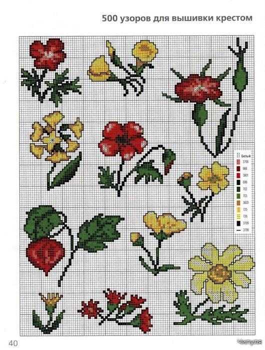 Несколько схем вышивки крестиком цветов.
