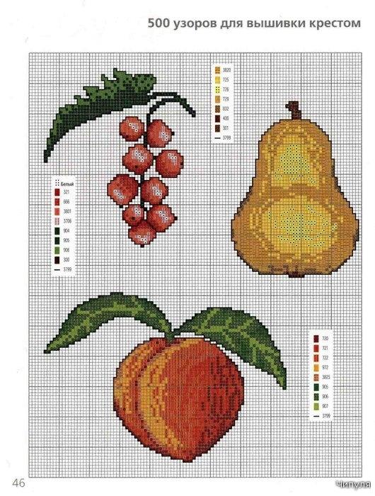 В этом разделе представлено множество схем для вышивки крестом ягод и фруктов.