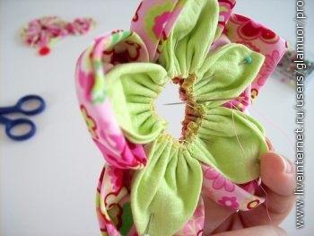 Цветы из тканикак сшить 72
