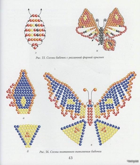 Я предлагаю вам несколько схем изделий из бисера, которые отличаются формой крыльев.