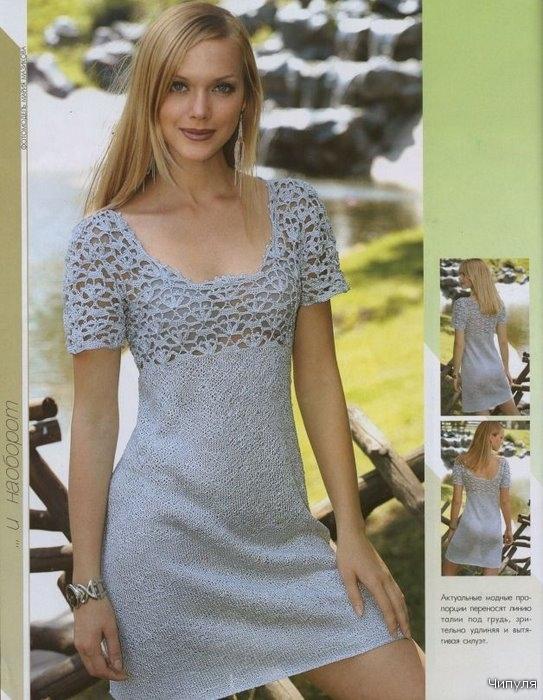 Комментарий: Схема вязания платья на спицах.  Как.