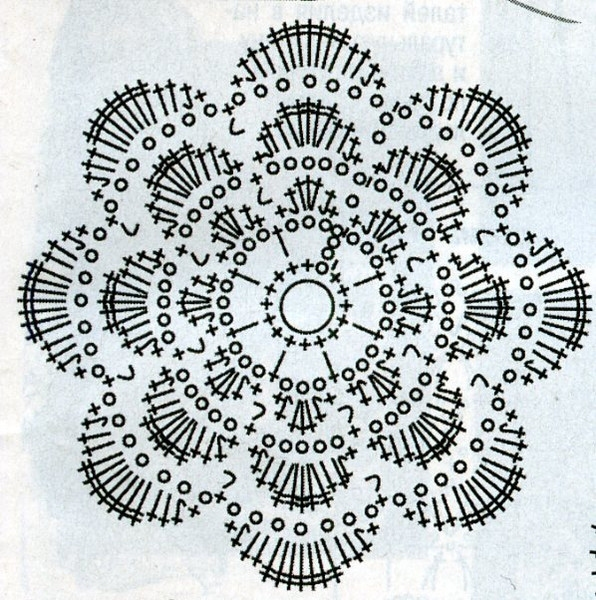 схема вязания цветка.