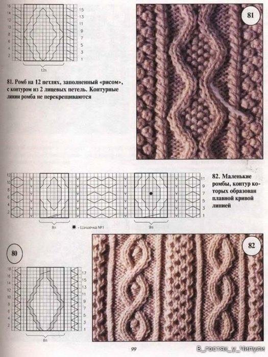 Вязание крупные ромбы спицами и жгуты красивые переплеты 57