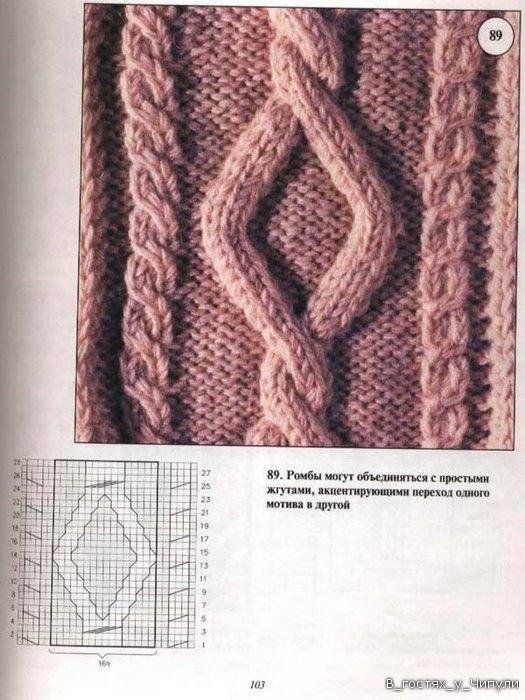 Узор для вязания спицами ромбы из кос 975 Вязание Pinterest