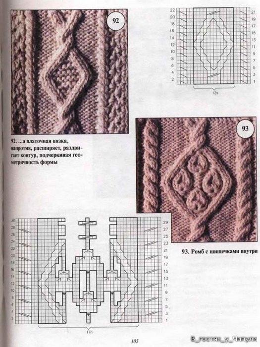 Вязание крупные ромбы спицами и жгуты красивые переплеты 46