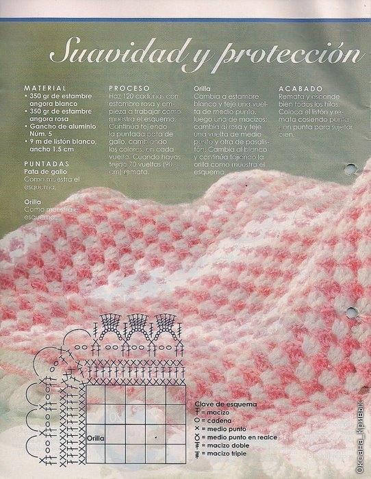 Manta rosa y blanca a crochet