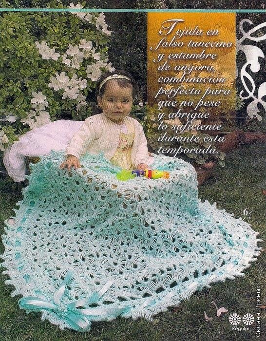 Manta verde agua con pasacinta a crochet