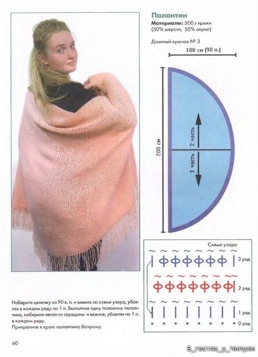 Тунисское вязание крючком, схемы, модели.