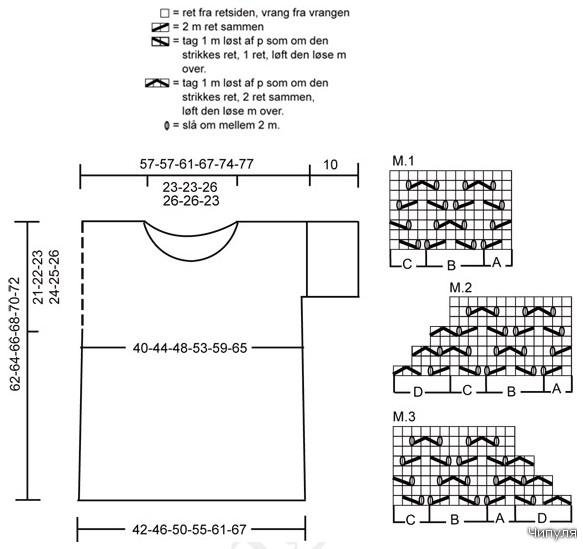 Схема вязания ажурного топа.