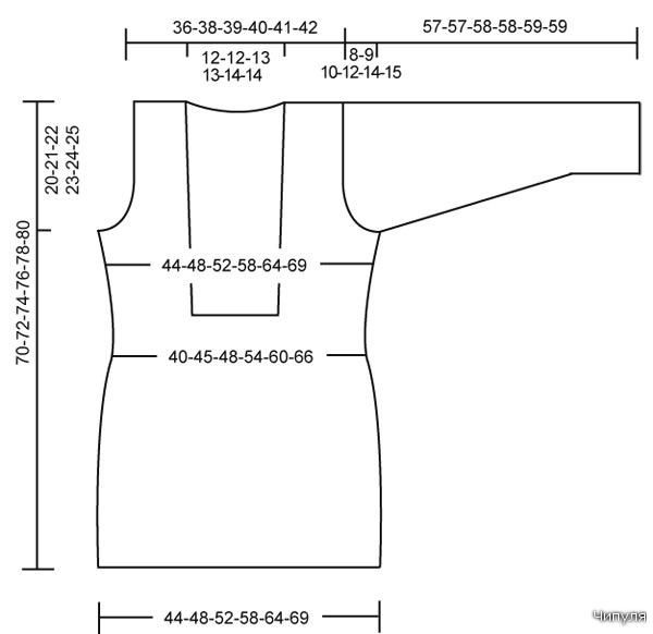 Размеры: S-М-L-ХL-XXL-XXXL Эту модель можно вязать как платье, юбку или свитер Материал: Студия пряжи DROPS Alpaca...