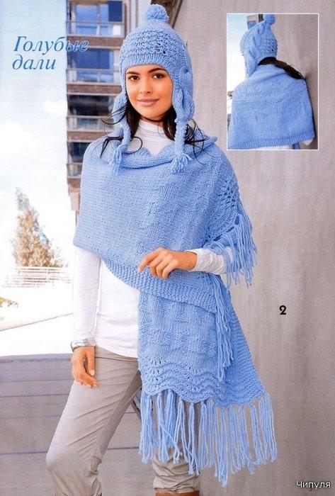 Вязание женских шапок и шарфов (палантина) спицами.  Зимние и осенние модели 2010 - 2011 года.