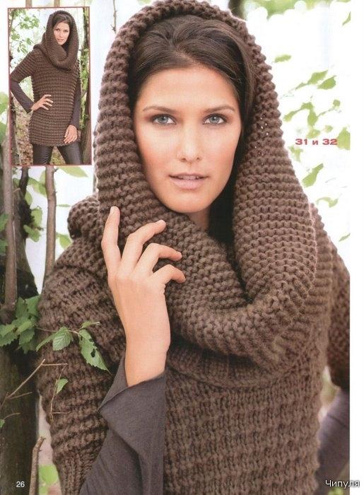 Спицами капюшон шарф 8