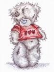 Cхема вышивки крестом Мишка Тедди - Я тебя люблю (I love you) .