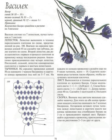 17 июн 2013 синий василек из бисера.  Должна признаться, что схема плетения этого василька довольна необычная.