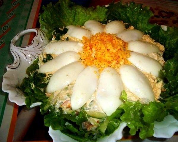 Как украсить салаты блюда фото