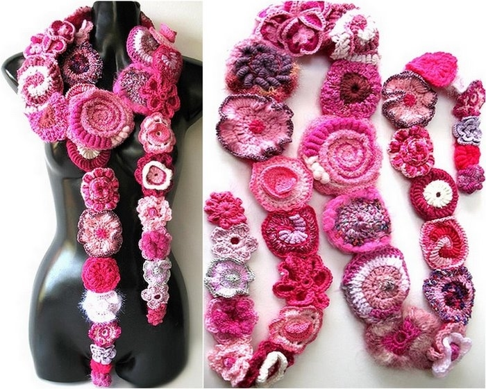 Розовый фриформ.  Креативное вязание.