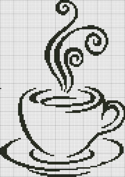И снова чашка кофе.  Вышивка.