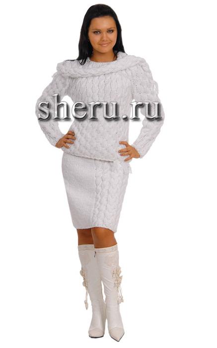 Вязание крючком и спицами - юбка и кофточка, декорированные длинным...