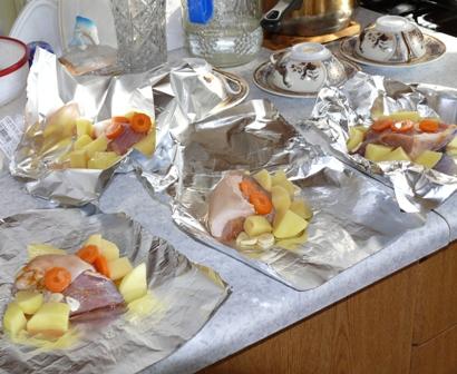 Порционное горячее блюдо в фольге