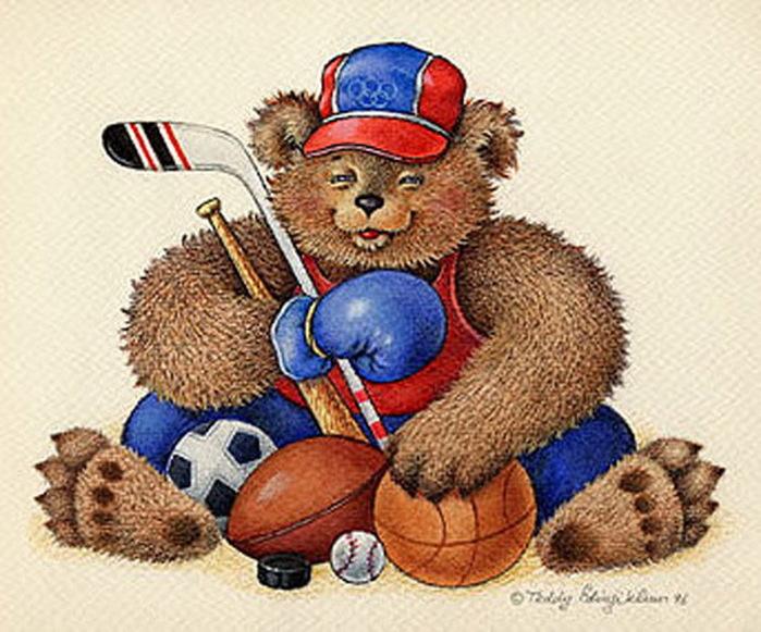 Картинка мишка спортсмен для детей