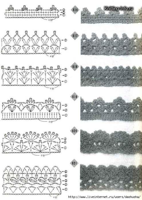 Симпатичный контур - схемы обвязки (крючок).  Узоры для вязания крючком.