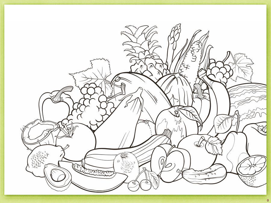 Овощи и фрукты.)) -детская раскраска . Обсуждение на ...