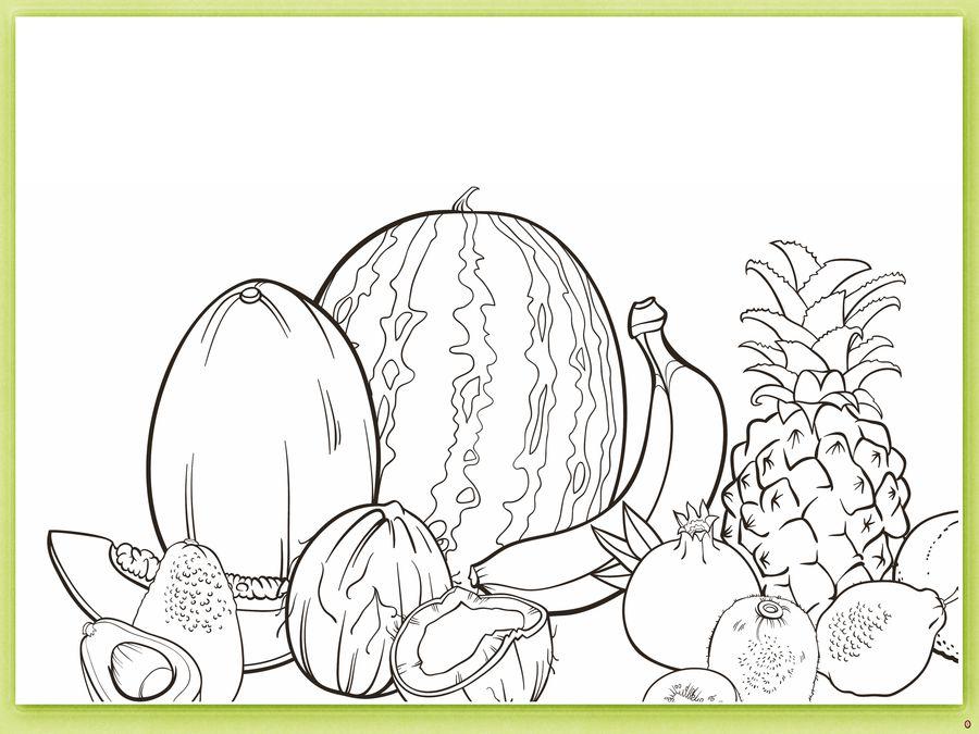 Овощи и фрукты. Детская раскраска.