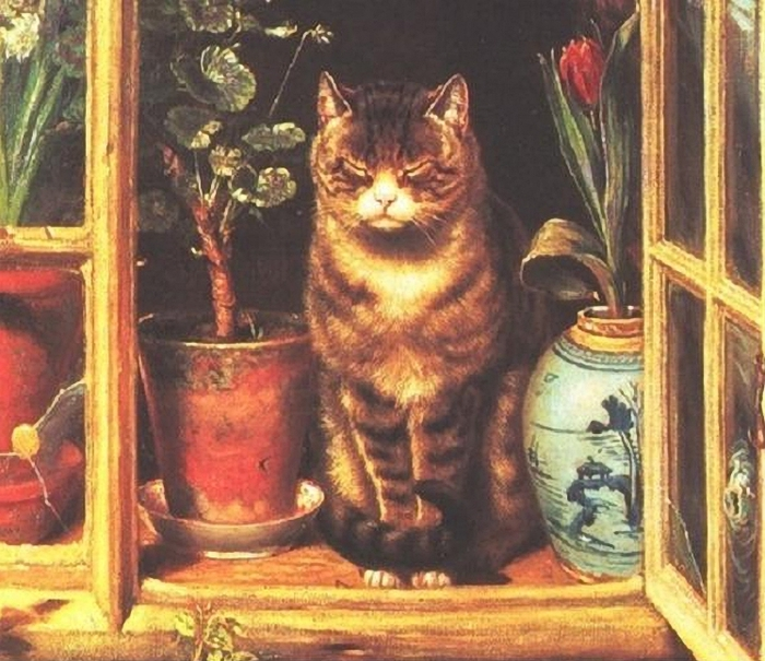 Ralph Hedley - Cat in Cottage Window (700x605, 321Kb)