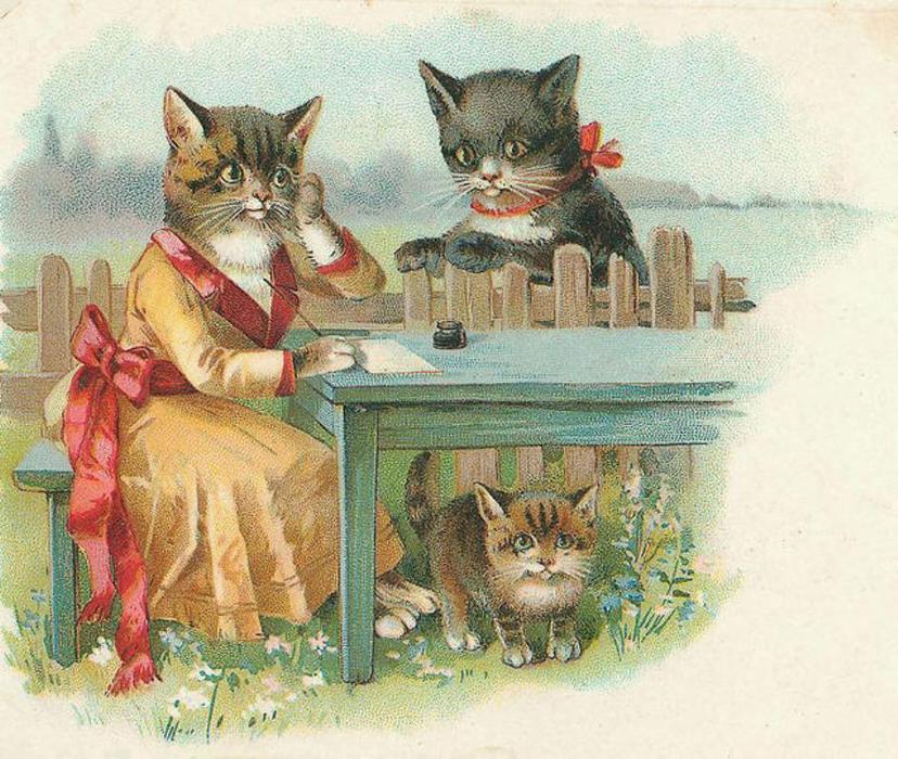 Почтовых открыток, винтажные картинки с котятами