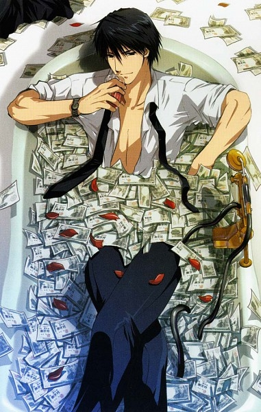 anime money bathtub phi stars tuxedo guy handsome cute (381x600, 227Kb)