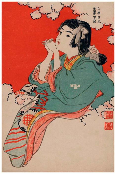 Нарисованных, открытка япония