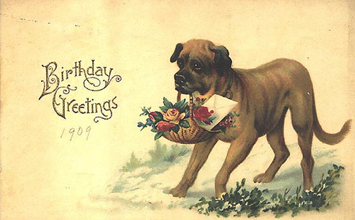 Стднем рождения стилизованные открытки собаки