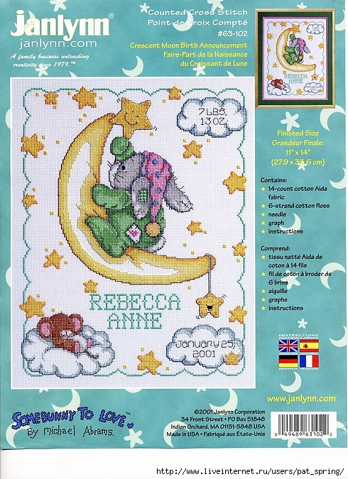"Croissant de lune Sampler Janlynn Counted Cross Stitch Kit 11/""x14/"" 14 CT"