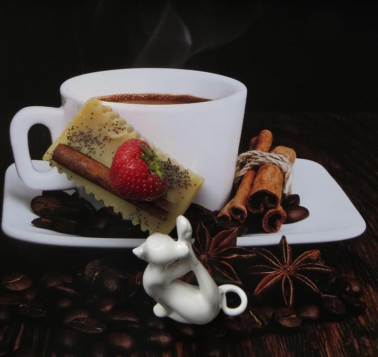 Картинка, картинки с добрым утром с кофе и пирожными с надписью мужчине