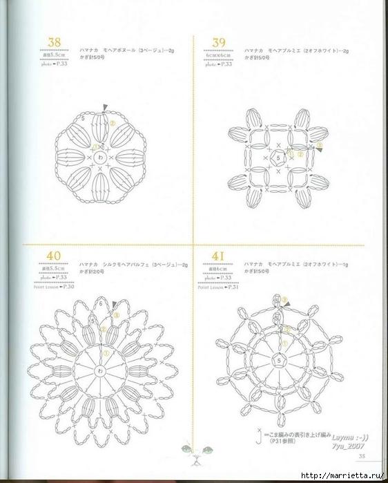 вязание ажурные цветочные мотивы спицами со схемами